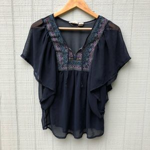 Boho sheer hippie flowy embroidered blouse